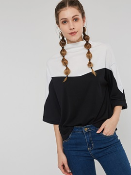 Three-Quarter Sleeve Patchwork Standard Spring Women's T-Shirt
