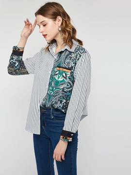 Print Patchwork Stripe Lapel Mid-Length Women's Shirt