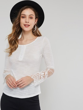 Lace Long Sleeve V-Neck Plain Thin Women's Blouse