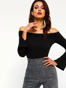 Off Shoulder Long Flare Sleeve Women's T-Shirt