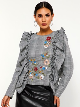 Floral Patchwork Round Neck Plaid Falbala Women's Blouse