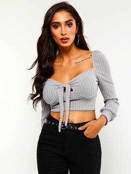Lace-Up Square Neck Long Sleeve Cropped Women's T-Shirt