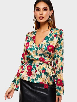 V-Neck Floral Print Long Sleeve Standard Women's Blouse