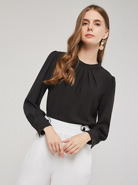 Stand Collar Regular Pleated Long Sleeve Standard Women's Blouse