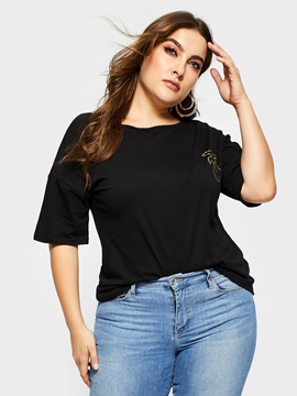 Plus Size Plain Short Sleeve Round Neck Spring Women's T-Shirt