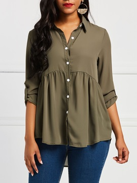 Plain Pleated Asymmetric Buttons Women's Shirt