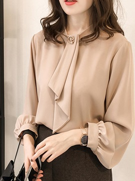 Plain Long Sleeve Standard Women's Blouse