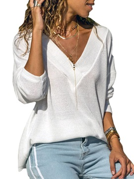 Deep V Neck Long Sleeve Casual Fall Women's T-Shirt