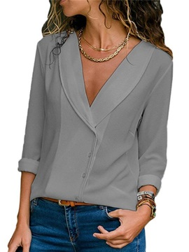 Plain Lapel Loose Long Sleeve Women's Blouse