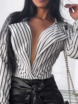 Stripe Print Sexy Long Sleeve Slim Women's Blouse