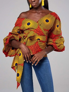 African Fashion Lantern Sleeve Three-Quarter Sleeve Women's Blouse