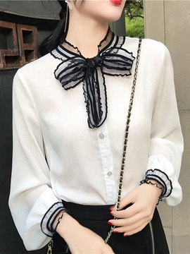 Bowknot Long Sleeve Standard Women's Blouse
