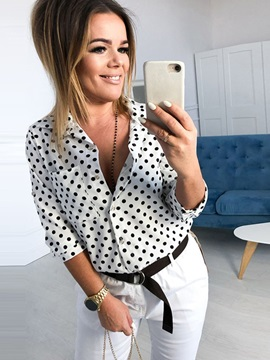 Regular Polka Dots Lapel Three-Quarter Sleeve Mid-Length Women's Shirt