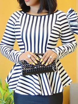 Stripe Round Neck Falbala Long Sleeve Women's Blouse