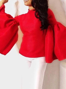 Plain Flare Sleeve Standard Long Sleeve Women's Blouse