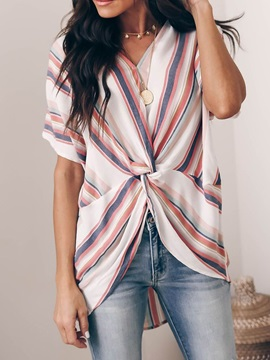 V-Neck Pleated Color Block Short Sleeve Mid-Length Women's Blouse