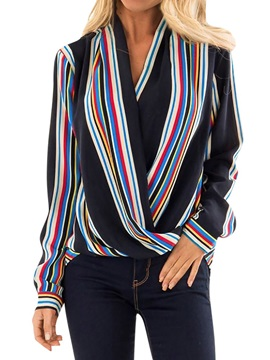 Stripe V-Neck Long Sleeve Standard Women's Blouse