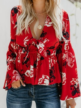 Flare Sleeve Floral V-Neck Long Sleeve Standard Women's Blouse