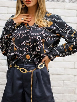 V-Neck Print Long Sleeve Loose Women's Blouse
