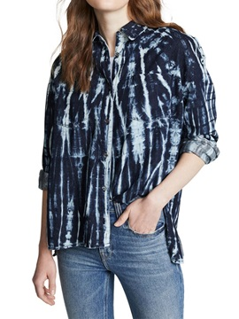 Print Lapel Color Block Mid-Length Long Sleeve Women's Shirt