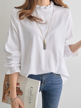 Plain Selvedge Long Sleeve Women's Blouse