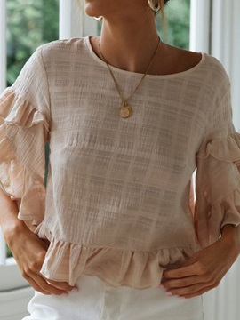 Patchwork Flare Sleeve Round Neck Half Sleeve Women's Blouse