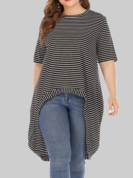 Stripe Half Sleeve Round Neck Loose Women's T-Shirt