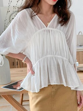 V-Neck Plain Three-Quarter Sleeve Pleated Women's Blouse