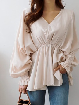 Plain V-Neck Lantern Sleeve Loose Women's Blouse