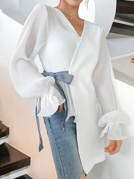 V-Neck Bowknot Ruffle Sleeve Patchwork Women's Blouse