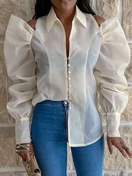 See-Through Plain Lapel Long Sleeve Women's Blouse