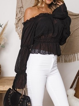 Plain Off Shoulder Pleated See-Through Women's Blouse