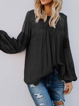 Plain See-Through Lantern Sleeve Women's Blouse