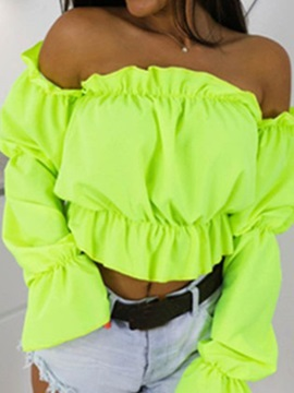Plain Off Shoulder Pleated Short Women's Blouse