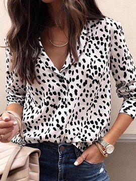 Plus Size Leopard Print Long Sleeve Women's Blouse