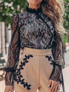 Lace Plain See-Through Women's Blouse