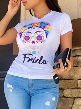 Cartoon Skull Print Short Sleeve Slim Women's T-Shirt