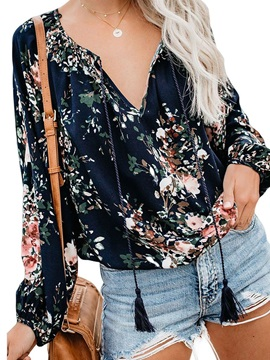 Floral Ethnic Print Mid-Length Long Sleeve Women's Blouse