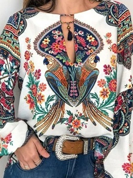 Color Block Ethnic Print Long Sleeve Women's Blouse