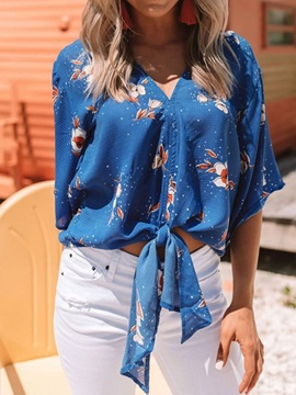 V-Neck Floral Print Loose Women's Blouse