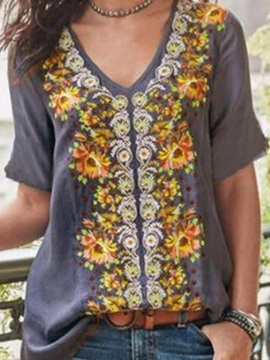 Plus Size V-Neck Floral Casual Women's T-Shirt
