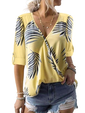 V-Neck Color Block Plant Print Mid-Length Women's Blouse