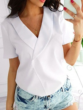 Plain V-Neck Short Sleeve Women's Blouse