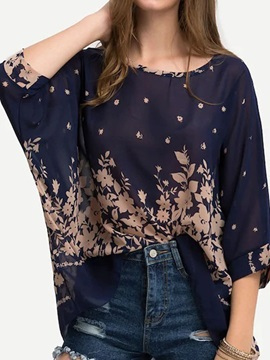 Floral Print Round Neck Mid-Length Women's Blouse
