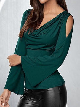 Plain Long Sleeve Pleated Elegant Women's T-Shirt