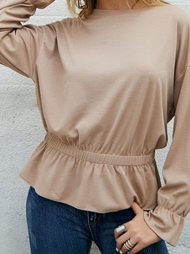 Plain Round Neck Long Sleeve Pleated Women's T-Shirt