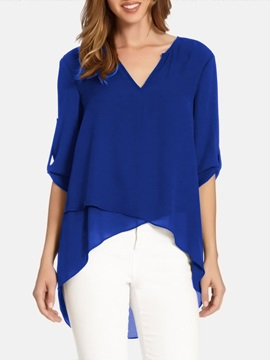 Plus Size V-Neck Plain Asymmetric Mid-Length Women's Blouse