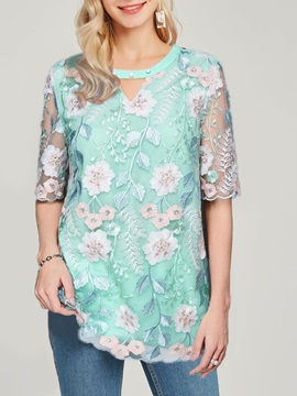 Round Neck Floral Embroidery Loose Mid-Length Women's Blouse
