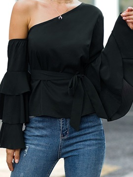 Plain Pleated Long Sleeve Women's Blouse