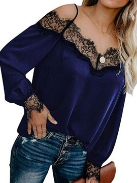 Plain Patchwork Long Sleeve Standard Women's Blouse